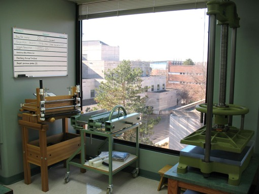 Our window overlooking campus.  We love working in natural light, especially when color-matching repairs.