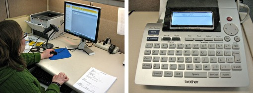 Typing the call number and title into the computer program (left); printing directly to the label maker (right).