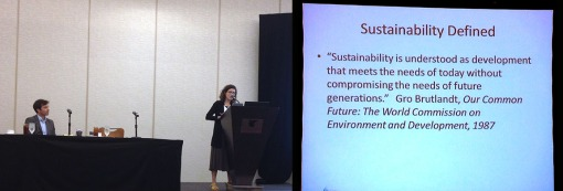 Out-going Sustainability Committee Chair Sarah Nunberg introduces the lunch session programming.
