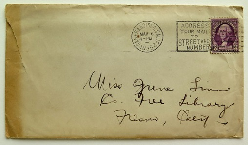 Envelope with 3-cent stamp from the Carrie Chapman Catt Collection.