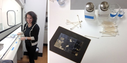 Clara Ines Rojas Sebesta monitors photographs in a solvent bath under the fume hood (left). Testing methods for removing silver mirroring, including solvent-dampened swabs (right).