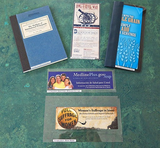 Gloria's other treatments (pamphlet bindings, encapsulations).