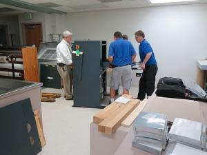 Assembling the new machine.