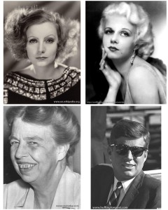 Greta Garbo, Jean Harlow, Eleanor Roosevelt and John F. Kennedy