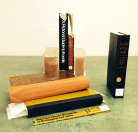 Books with damaged spines, re-backs in progress and a completed repair