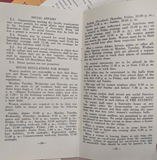 Pages of 24 and 25 of the University Rule book found in the Lorris A. Foster scrapbook. RS 21/7/147