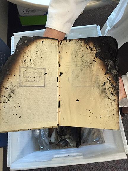 Fire damaged book