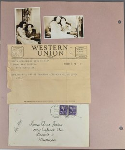 Lorris and her husband Jim Foster are pictured above on this page of her scrapbook. RS 21/7/147