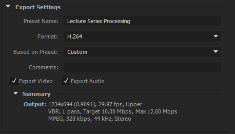 An overview of the settings used in Media Encoder.
