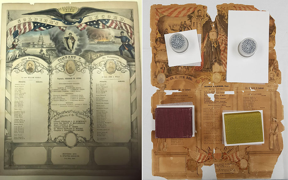 Civil War Registers Lithographs, Chromolithographs, art on paper conservation.
