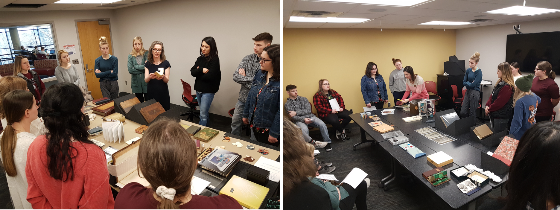 A montage of two photos. Each shows the class surrounded a table with books laid out on the table. In the first conservator Sonya Barron is holding a book and describing it. In the second archivist Amy Bishop is picking up a book she is discussing.
