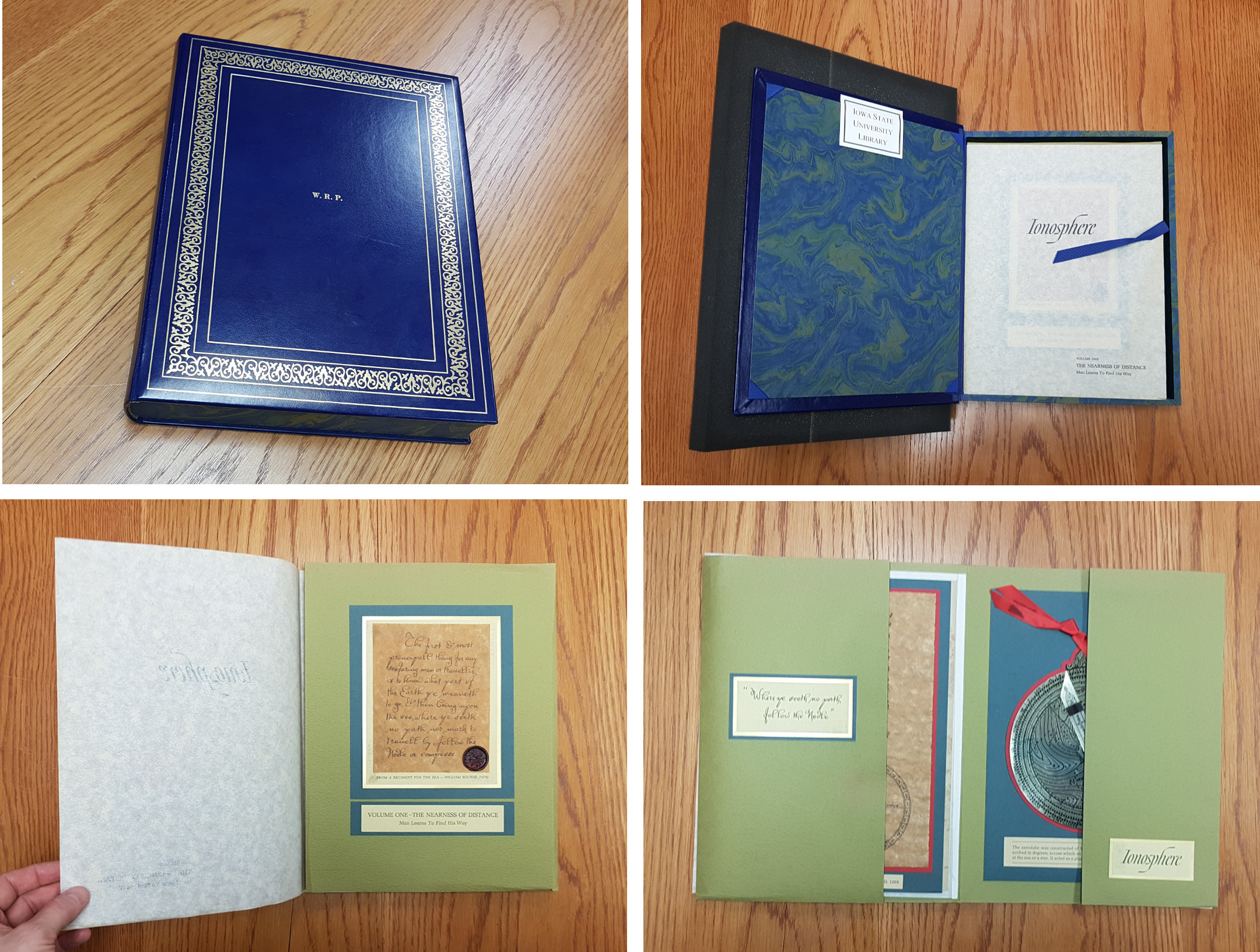 A montage of four photos showing the book-box closed, opened to reveal folders inside, and a folder closed and then opened.