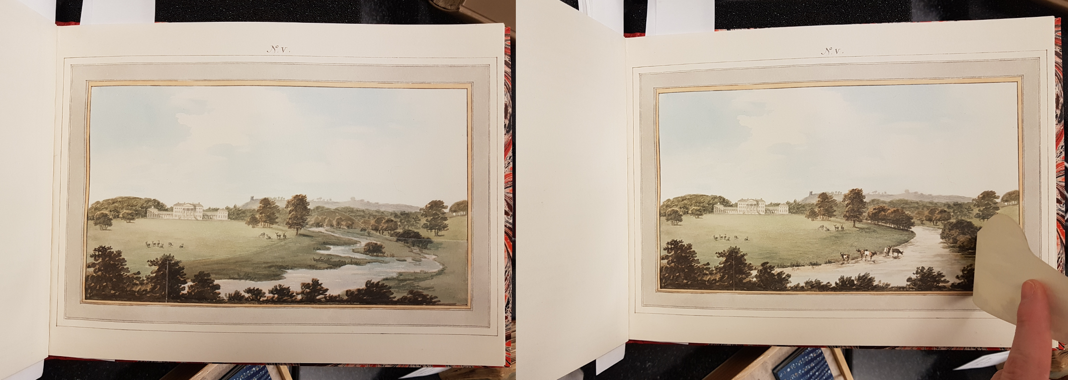 A montage of two photos. The first shows a river with an irregular bank. The second photo shows the same landscape with a paper flap that was atached to the image lifted to reveal a more regular riverbank and animals wading in the river.