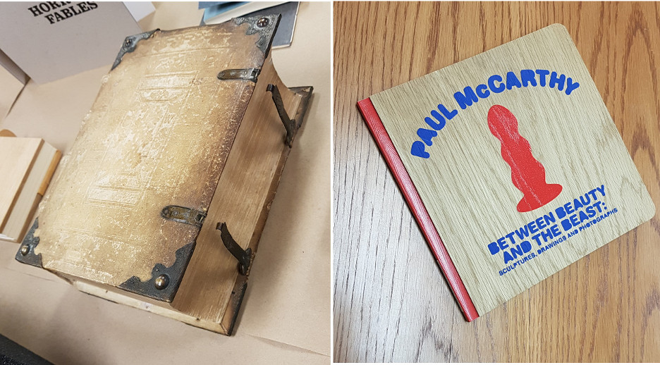 A montage of two photos. One photo is of a historic German bindings with wooden boards and a tooled cover. The other is of a modern wooden cover binding with decoration on the cover.